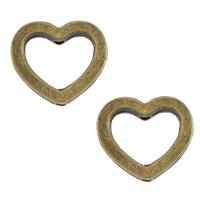 Zinklegierung Herz Perlen, antike Bronzefarbe plattiert, frei von Nickel, Blei & Kadmium, 14x12.50x3.50mm, Bohrung:ca. 1.5mm, 500PCs/Menge, verkauft von Menge