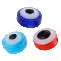 Harz Evil Eye Perlen, flache Runde, verschiedene Größen vorhanden, keine, Bohrung:ca. 1-2mm, 2Taschen/Menge, 1000PCs/Tasche, verkauft von Menge