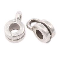 Zinklegierung Stiftöse Perlen, Kreisring, antik silberfarben plattiert, frei von Nickel, Blei & Kadmium, 4x6x3mm, Bohrung:ca. 1mm, 1.5mm, ca. 6600PCs/kg, verkauft von kg