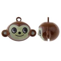 Messing Glocke Anhänger, Affe, Spritzlackierung, frei von Nickel, Blei & Kadmium, 25x17x16mm, Bohrung:ca. 1.5mm, 50PCs/Tasche, verkauft von Tasche