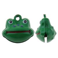 Messing Glocke Anhänger, Frosch, Spritzlackierung, grün, frei von Nickel, Blei & Kadmium, 19x17x12mm, Bohrung:ca. 1.5mm, 50PCs/Tasche, verkauft von Tasche