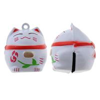 Messing Glocke Anhänger, Vermögen-Katze, Spritzlackierung, frei von Nickel, Blei & Kadmium, 25x29x26mm, Bohrung:ca. 1.5mm, 50PCs/Tasche, verkauft von Tasche