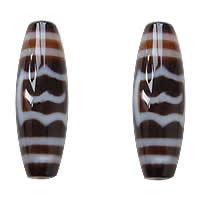 Natürliche Tibetan Achat Dzi Perlen, oval, Garuda & zweifarbig, Grad AAA, 13x38mm, Bohrung:ca. 2mm, verkauft von PC