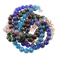 Goldsand & Silberfolie Lampwork Perlen, rund, Goldsand und Silberfolie, keine, 13mm, Bohrung:ca. 3mm, Länge:ca. 14.5 ZollInch, 10SträngeStrang/Menge, ca. 30PCs/Strang, verkauft von Menge
