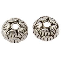 Zinklegierung Perlenkappe, Blume, antik silberfarben plattiert, frei von Nickel, Blei & Kadmium, 10x10x4mm, Bohrung:ca. 2mm, ca. 1587PCs/kg, verkauft von kg
