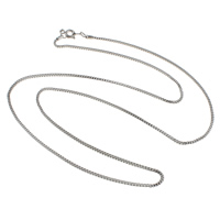 Messingkette Halskette, Messing, plattiert, Kastenkette, keine, frei von Nickel, Blei & Kadmium, 1.4mm, verkauft per ca. 24 ZollInch Strang
