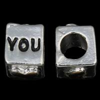 Zink Legierung Europa Alphabet Perlen, Zinklegierung, Würfel, Wort ich liebe dich, plattiert, ohne troll & Emaille, frei von Nickel, Blei & Kadmium, 7x10x7mm, Bohrung:ca. 5mm, 10PCs/Tasche, verkauft von Tasche