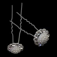 Haarnadeln, Zinklegierung, mit ABS-Kunststoff-Perlen & Eisenstift, Blume, silberfarben plattiert, mit Strass, frei von Nickel, Blei & Kadmium, 16x67x7mm, 10BoxenFeld/Menge, 12PCs/Box, verkauft von Menge