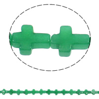Natürliche grüne Achat Perlen, Grüner Achat, Kreuz, 12x16x5mm, Bohrung:ca. 1mm, ca. 25PCs/Strang, verkauft per ca. 16.5 ZollInch Strang