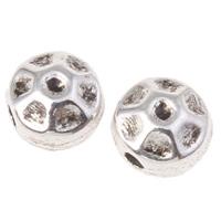 Zinklegierung flache Perlen, flache Runde, antik silberfarben plattiert, gehämmert, frei von Nickel, Blei & Kadmium, 4x4mm, Bohrung:ca. 1mm, ca. 4348PCs/kg, verkauft von kg