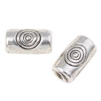 Zinklegierung Rohr Perlen, antik silberfarben plattiert, frei von Nickel, Blei & Kadmium, 5x3mm, Bohrung:ca. 1mm, ca. 6667PCs/kg, verkauft von kg
