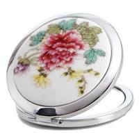 Zinklegierung Kosmetischer Spiegel, mit Porzellan, Platinfarbe platiniert, mit Blumenmuster, frei von Nickel, Blei & Kadmium, 70mm, 20PCs/Menge, verkauft von Menge