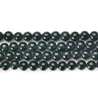 Grüne Goldstein Perlen, grüner Goldsandstein, rund, natürlich, verschiedene Größen vorhanden, Länge:ca. 15 ZollInch, verkauft von Menge