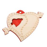 Holz Anhänger, Herz, rot, 60x45x5mm, Bohrung:ca. 3mm, 200PCs/Tasche, verkauft von Tasche