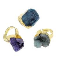 Druzy Finger Ring, Eisquarz Achat, mit Messing, goldfarben plattiert, druzy Stil & einstellbar & gemischt, 15x16x8mm-19x25x10mm, Größe:7.5, 10PCs/Tasche, verkauft von Tasche