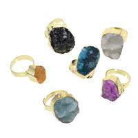Druzy Finger Ring, Eisquarz Achat, mit Messing, goldfarben plattiert, druzy Stil & einstellbar & gemischt, 13x15x13mm-22x28x11mm, Größe:7.5, 10PCs/Tasche, verkauft von Tasche