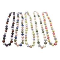 Südsee Muschel Halskette, Messing Federring Verschluss, rund, gemischte Farben, 12mm, Länge:ca. 18 ZollInch, 3SträngeStrang/Tasche, 38PCs/Strang, verkauft von Tasche