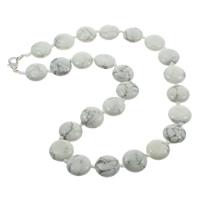 Natürlicher weißer Türkis Halskette, Zinklegierung Karabinerverschluss, flache Runde, 16x6.5mm, verkauft per 17 ZollInch Strang