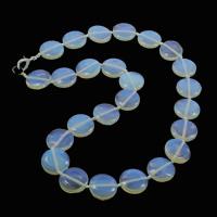 Meer Opal Halskette, Zinklegierung Karabinerverschluss, flache Runde, 16x6.5mm, verkauft per 17 ZollInch Strang