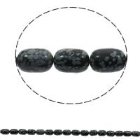 Schneeflocke Obsidian, Zylinder, natürlich, 10x14mm, Bohrung:ca. 1mm, ca. 28PCs/Strang, verkauft per ca. 16 ZollInch Strang