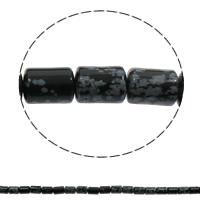 Schneeflocke Obsidian, Zylinder, natürlich, 10x14mm, Bohrung:ca. 1mm, ca. 28PCs/Strang, verkauft per ca. 15.3 ZollInch Strang