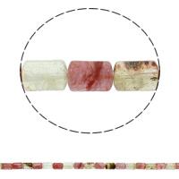 Wassermelone Glasperlen, Zylinder, natürlich, 10x14mm, Bohrung:ca. 1mm, ca. 28PCs/Strang, verkauft per ca. 15.3 ZollInch Strang