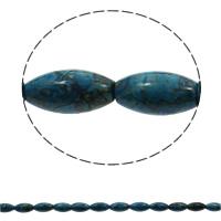 gefärbter Marmor Perle, oval, blau, 10x20mm, Bohrung:ca. 1mm, 20PCs/Strang, verkauft per ca. 15.7 ZollInch Strang