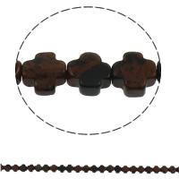 Mahagoni Obsidian Perlen, mahagonibrauner Obsidian, Kreuz, natürlich, 8x4mm, Bohrung:ca. 1mm, 50PCs/Strang, verkauft per ca. 16 ZollInch Strang