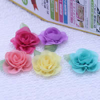 Mode Dekoration Blumen, Chiffon, für Kinder, gemischte Farben, 65mm, 500PCs/Menge, verkauft von Menge