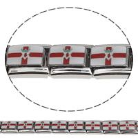 Edelstahl Italian Charm Link-, Rechteck, Emaille, farbenfroh, 9x10x5mm, 10PCs/Tasche, verkauft von Tasche