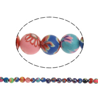 Polymer Ton Perlen , rund, handgemacht, mit Blumenmuster, farbenfroh, 6mm, Bohrung:ca. 1mm, Länge:ca. 9 ZollInch, 20SträngeStrang/Tasche, ca. 40PCs/Strang, verkauft von Tasche