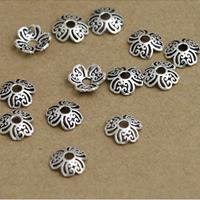 Bali Sterling Silber Perlenkappen, Thailand, Blume, hohl, 9mm, Bohrung:ca. 1-3mm, 60PCs/Menge, verkauft von Menge