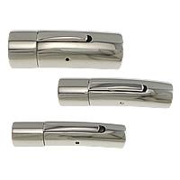 Edelstahl-Schmuck-Verschluss, Edelstahl, Rohr, verschiedene Größen vorhanden, originale Farbe, 20PCs/Menge, verkauft von Menge