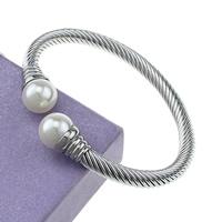 Edelstahl Armreif, mit Kunststoff Perlen, originale Farbe, 12mm, 6mm, Innendurchmesser:ca. 62x51mm, Länge:ca. 7 ZollInch, verkauft von PC