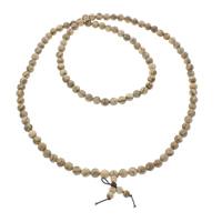 108 Mala Perlen, Huhn Wingwood, mit elastische Nylonschnur, rund, buddhistischer Schmuck, gelb, 8mm, Länge:ca. 35 ZollInch, 5SträngeStrang/Tasche, 108PCs/Strang, verkauft von Tasche