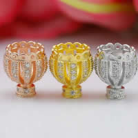 925 Sterling Silber Perlenkappe, Krone, plattiert, Micro pave Zirkonia & hohl, gemischte Farben, 8.50x9.70mm, Bohrung:ca. 1-2mm, 10PCs/Menge, verkauft von Menge