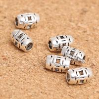 Bali Sterling Silber Perlen, Thailand, Zylinder, hohl, 7x5mm, Bohrung:ca. 2mm, 40PCs/Menge, verkauft von Menge