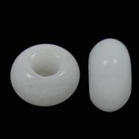 European Stil Edelsteinperlen, weiße Jade, Rondell, natürlich, ohne troll, 8x14mm, Bohrung:ca. 6mm, 100PCs/Tasche, verkauft von Tasche