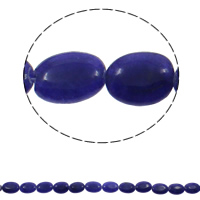 gefärbter Marmor Perle, flachoval, blau, 13x18x5mm, Bohrung:ca. 1.5mm, ca. 21PCs/Strang, verkauft per ca. 14.5 ZollInch Strang