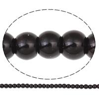 Perlmuttartige Glasperlen, rund, schwarz, 6mm, Bohrung:ca. 1mm, Länge:ca. 31.4 ZollInch, 10SträngeStrang/Tasche, ca. 156PCs/Strang, verkauft von Tasche