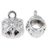 Zinklegierung Stiftöse Perlen, Trommel, silberfarben plattiert, hochwertige Beschichtung und nie verblassen, frei von Blei & Kadmium, 10.50x13x9mm, Bohrung:ca. 2.5mm, 4mm, 50PCs/Tasche, verkauft von Tasche