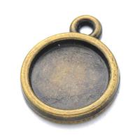 Zink-Legierung Cabochon Weissgold, Zinklegierung, flache Runde, antike Bronzefarbe plattiert, frei von Nickel, Blei & Kadmium, 12x16mm, Bohrung:ca. 2mm, Innendurchmesser:ca. 10mm, 100PCs/Menge, verkauft von Menge