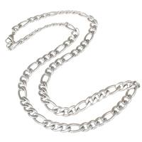 Halskette, Edelstahl, verschiedene Größen vorhanden & Figaro Kette, originale Farbe, verkauft per ca. 21 ZollInch Strang