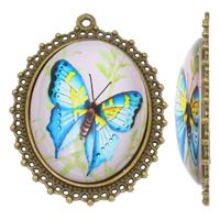 Glas Zinklegierung Anhänger, mit Glas, flachoval, antike Bronzefarbe plattiert, mit einem Muster von Schmetterling, frei von Nickel, Blei & Kadmium, 40x54x10mm, Bohrung:ca. 2mm, verkauft von PC