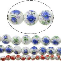 Kunstdruck Porzellan Perlen, rund, verschiedene Größen vorhanden & mit Blumenmuster, keine, verkauft von Menge