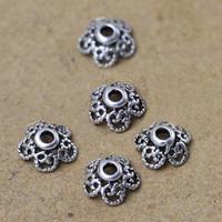Bali Sterling Silber Perlenkappen, Thailand, Blume, hohl, 6mm, Bohrung:ca. 1-3mm, 120PCs/Menge, verkauft von Menge