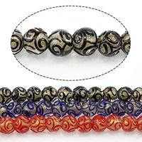 Goldsand Lampwork Perlen, rund, keine, 13mm, Bohrung:ca. 2.5mm, Länge:ca. 13.5 ZollInch, 3SträngeStrang/Menge, ca. 30PCs/Strang, verkauft von Menge