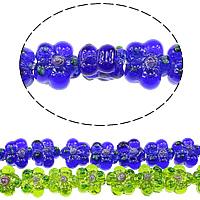 Holprige Lampwork Perlen, Blume, uneben, keine, 14x14x8.50mm, Bohrung:ca. 2mm, Länge:ca. 10 ZollInch, 5SträngeStrang/Menge, ca. 20PCs/Strang, verkauft von Menge