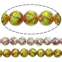 Goldsand Lampwork Perlen, rund, keine, 10mm, Bohrung:ca. 1.5mm, Länge:ca. 13.5 ZollInch, 5SträngeStrang/Menge, ca. 35PCs/Strang, verkauft von Menge