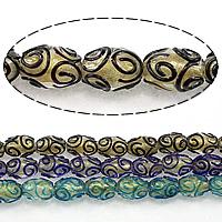 Goldsand Lampwork Perlen, oval, keine, 16x11mm, Bohrung:ca. 2.5mm, Länge:ca. 15 ZollInch, 3SträngeStrang/Menge, ca. 25PCs/Strang, verkauft von Menge